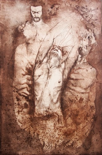 Mirza Rahmanović - unique print - Abel and Cain - 100x70 cm - etching, aquatint, drypoint - 2016.
