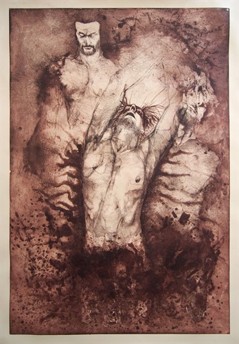 Mirza Rahmanović - unique print - Abel and Cain - 110x80 cm - etching, aquatint, drypoint - 2016.